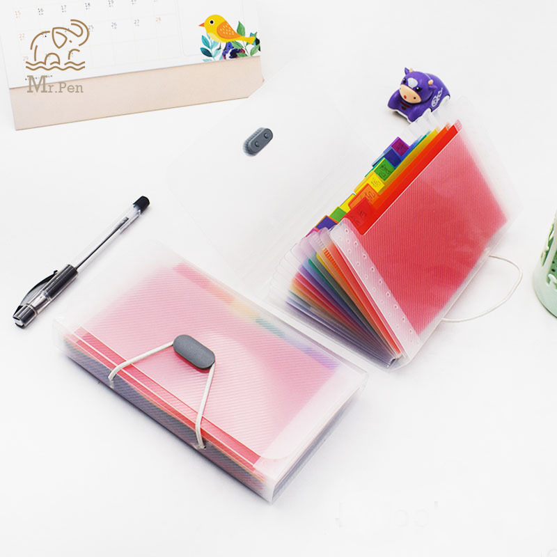 13 Layers Rainbow Color A6 File Folder Kawaii Small Document Bags Expanding Wallet Bill Folders For Documents Fichario Escolar