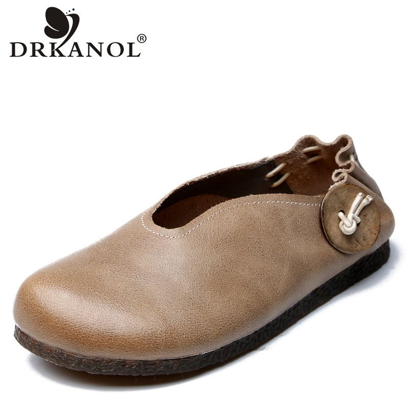 DRKANOL Handmade Vintage Authentic Leather Slip On Casual Loafers Women Flat Shoes Genuine Ladies Moccasins Flats