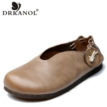 DRKANOL Handmade Vintage Authentic Leather Slip On Casual Loafers Women Flat Shoes Genuine Leather Ladies Moccasins Flats Shoes цена в Москве и Питере