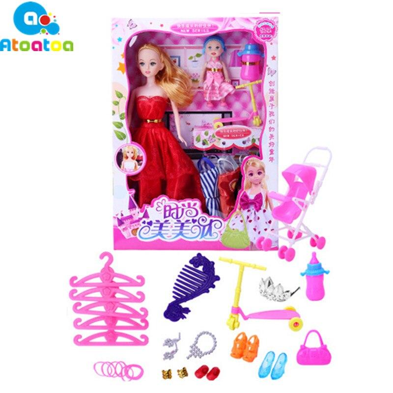 2 шт. подвижный сустав красивое тело маленькая принцесса Babe игрушки куклы + 6 шт. куклы платье Люкс + 40 шт. кукла аксессуары Подарки ...