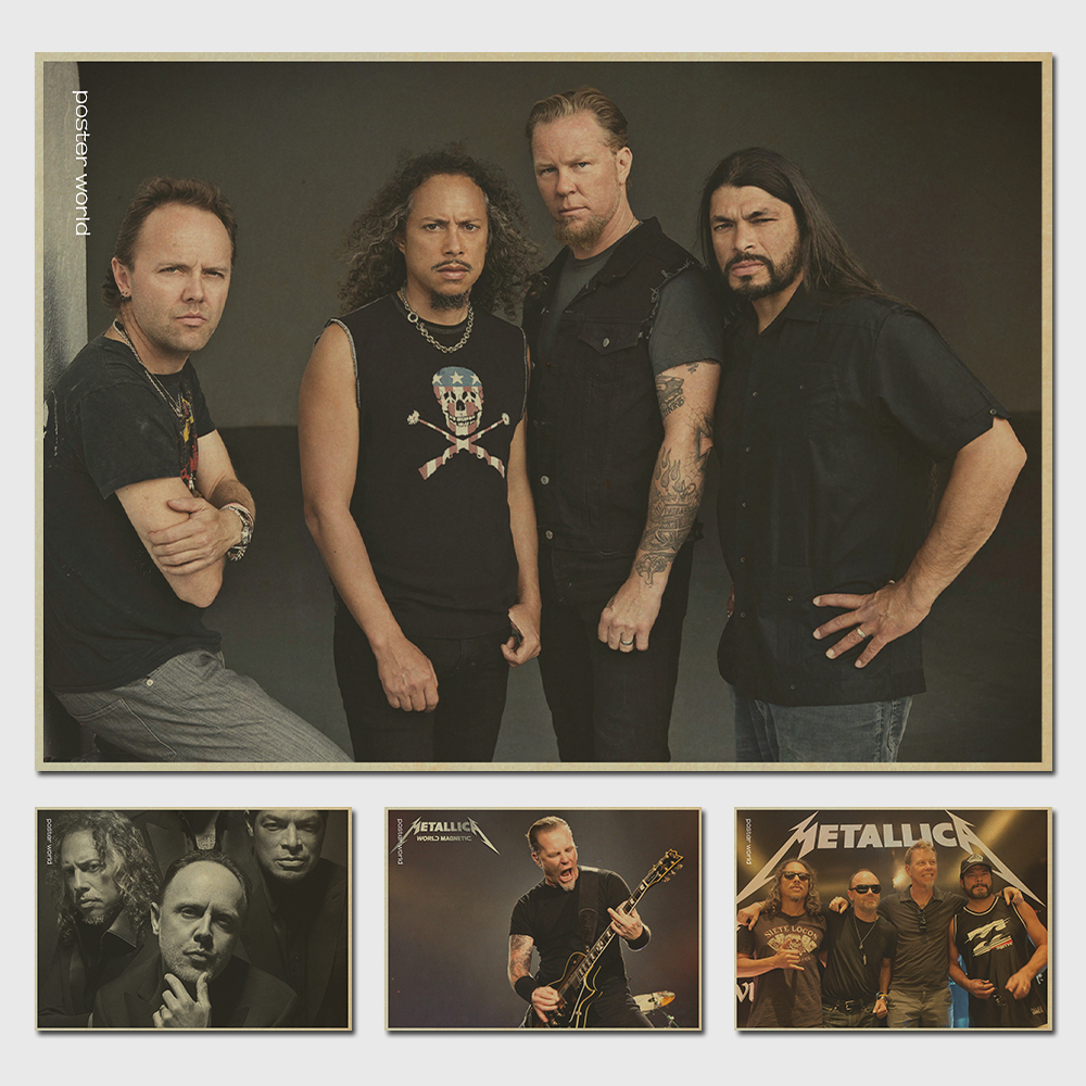 Vintage Classic Heavy Metal Rock Band Metallica Poster Bar Cafe Home Decor Painting Retro Kraft Paper Wall Sticker