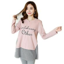 Maternity Clothes Spring Autumn Fashion Striped Loose Letters Embroidery Blouses Shirts for Pregnant Women Pregnantcy T-shirts