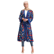 Arab Women Middle Abaya Muslim Floral Cardigan Kaftan Dresses without Scarf