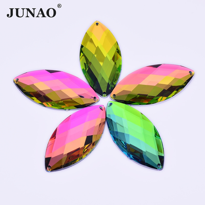 JUNAO 30*62mm Big Rainbow Color Sewing Crystal Rhinestones Applique Acrylic Crystals Sew On Horse Eye Flatback Stone for Clothes