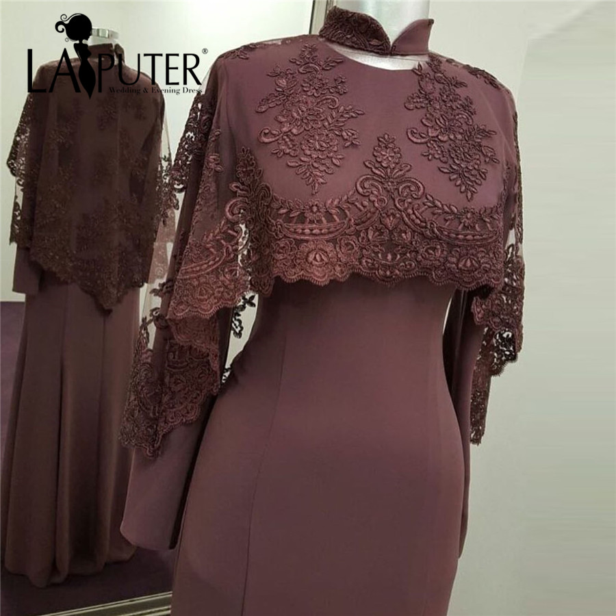 High Neck Long Sleeve Brown Muslim Evening Dresses with Cape Lace Appliques Satin Dubai Prom Dress Party kaftan arabic dress