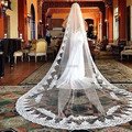 DressesRose Real Pictures YWV10 Custom Made Lace Edge Single Layer 3 Meter Catherdral Wedding Bridal Veil 2016