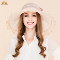 100% Silk Hat Beige White Ladies Derby Hats Weddings Women Fascinator Fedoras Vintage Party Hats with Fascinating Floral B 8194