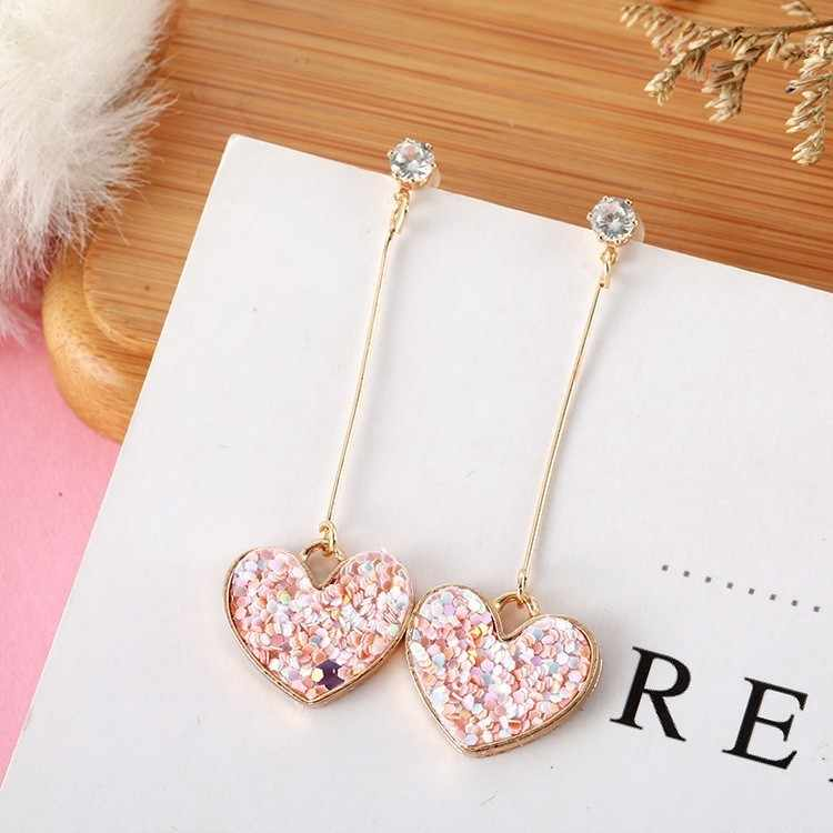 Korea Small Fresh Pink Sequin Love Earrings for women Sweet Crystal Heart Long Earrings Female jewelry oorbellen pendientes boho