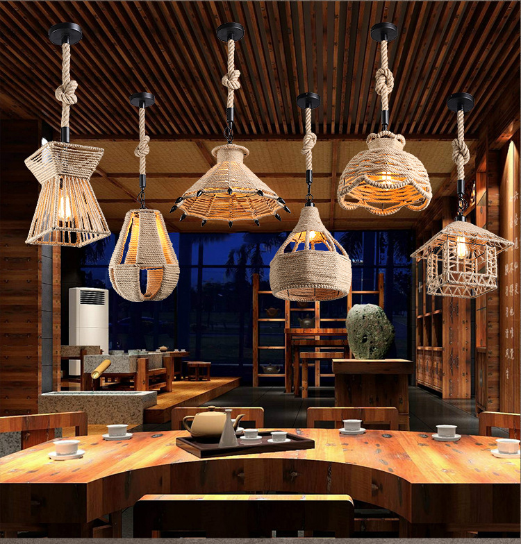 Retro Loft Vintage Hemp Rope Pendant Light Diy Lamp E27 Edison Bulb Hanging Kitchen Fixture Re In Lights From