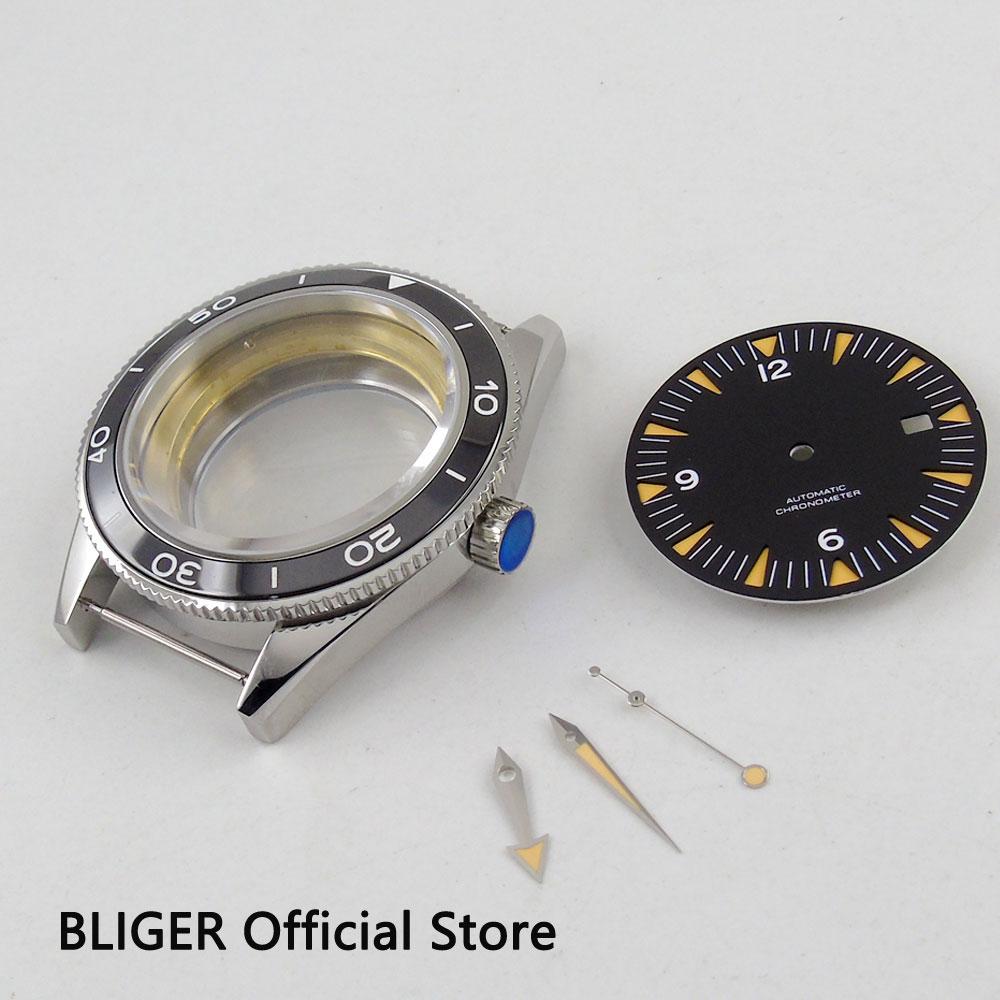 New 41mm BLIGER sapphire watch case+black dial+luminous hands for eta 2824 2836 movement men's watch case and dial+hands 41mm pvd black steel case dial hands luminous set for eta 2824 2836 miyota 8215 movement