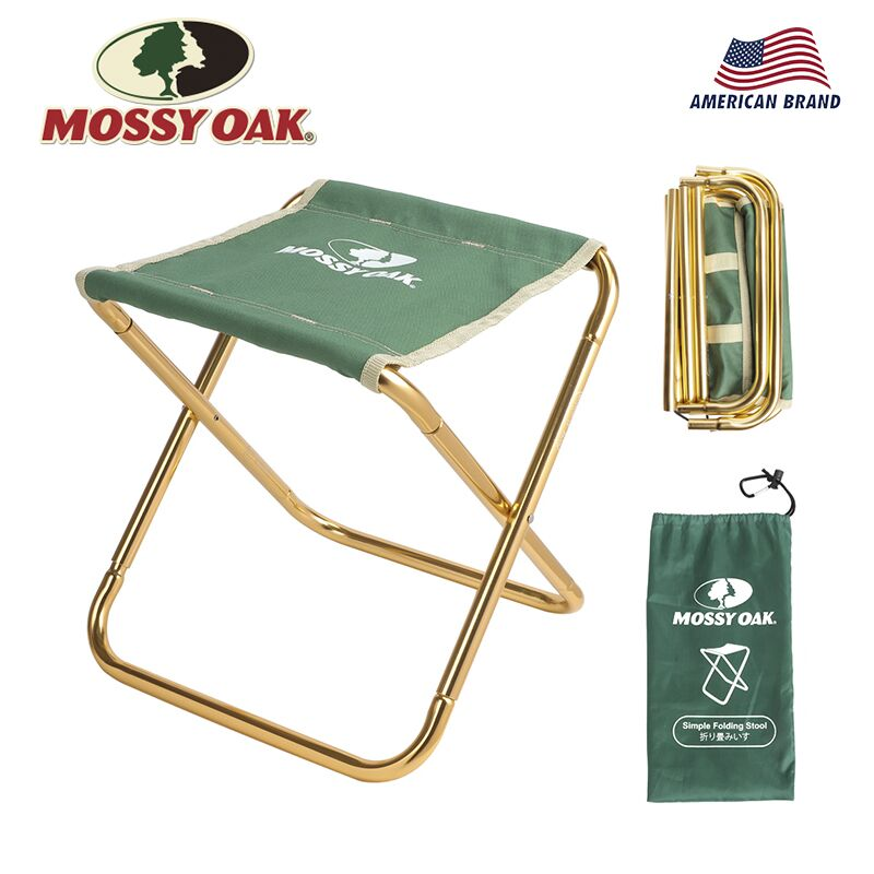 Folding Stool Fishing Chair Carabiner Lightweight Portable with Green-Bag And Oak Mossy