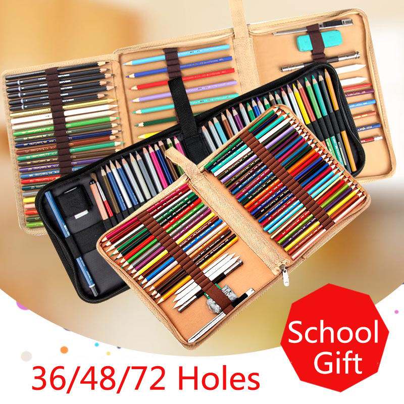 36 48 72 Holes Fold Pencil Case Canvas Pencil Box Zipper Solid Color Pencil Bag Cute Sketch Pen Case for Student School Gifts