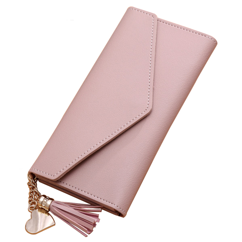 Women Leather Wallets Female Clutch Ladies Purse Card Photo Holder Wallet Tassel Solid Fashion Two Folding Women Coin Purse women leather wallets v letter design long clutches coin purse card holder female fashion clutch wallet bolsos mujer brand
