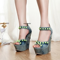 Stylish Jeans Peep Toe Wedge Sandals Fancy Light Wash Denim Rivets Decoration Platform Dress Sandals Classic
