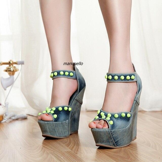 1ae0eba3afe Stylish Jeans Peep Toe Wedge Sandals Fancy Light Wash Denim Rivets  Decoration Platform Dress Sandals Classic Back Zip TrendyShoe