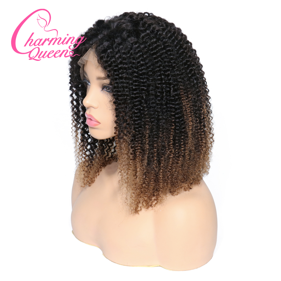 Brazilian Ombre T1B 4 Kinky Curly Lace Front Human Hair Wigs For Black Women Remy Hair