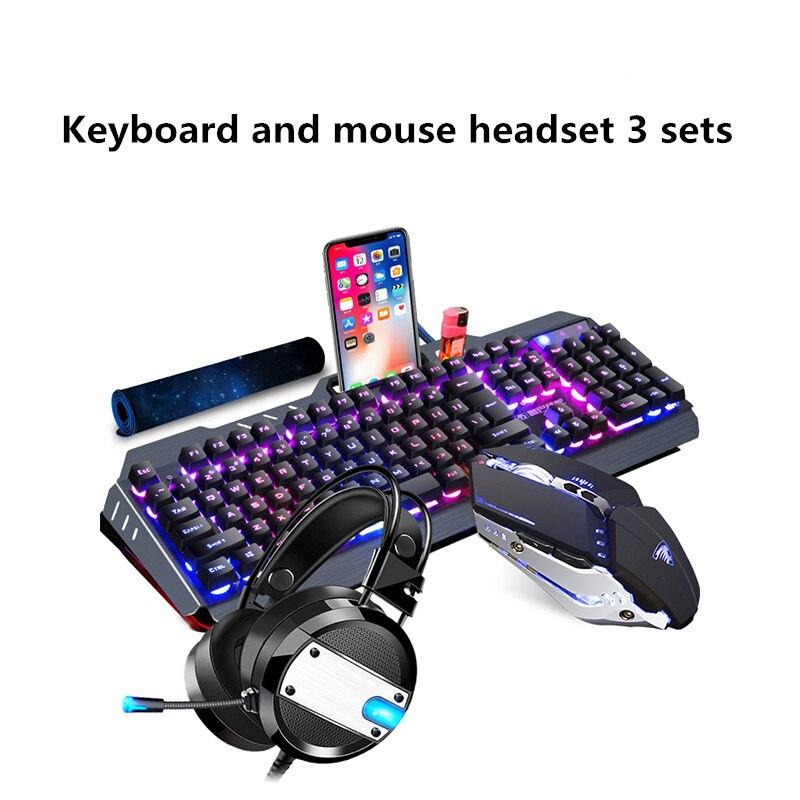 Teclado e mouse com fio headset três-piece suit periféricos para jogos de computador notebook de desktop interface usb do mouse e teclado set casa