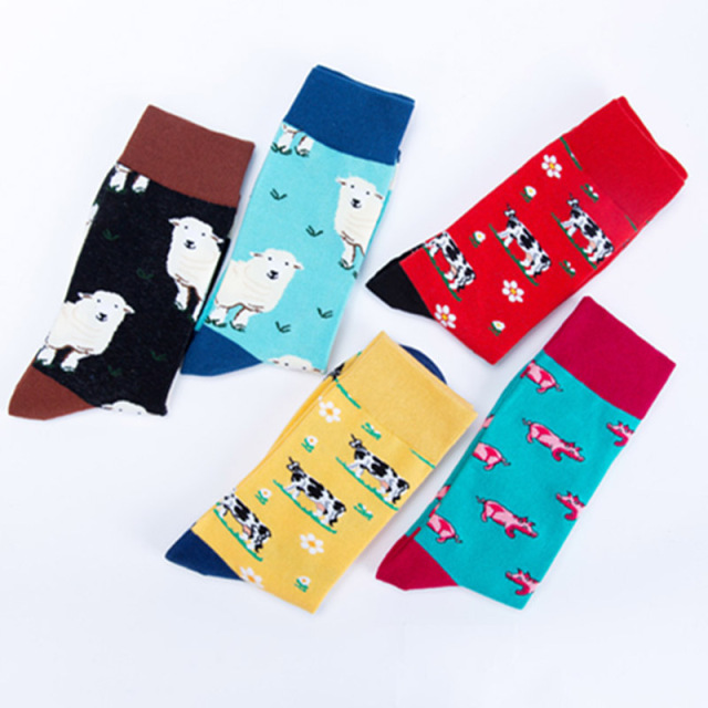 Men Business Wedding Funny Socks Street Creative Animal Happy Socks Unisex Harajuku Divertidos Skateboard Hip Hop Calcetines