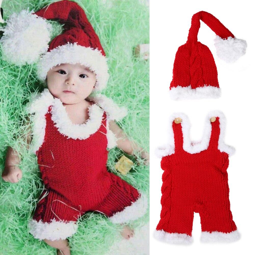 Новорожденных Подставки для фотографий маленьких Рождество крючком вязать костюм красный Санта Клаус шапка одежда для нового года Зима