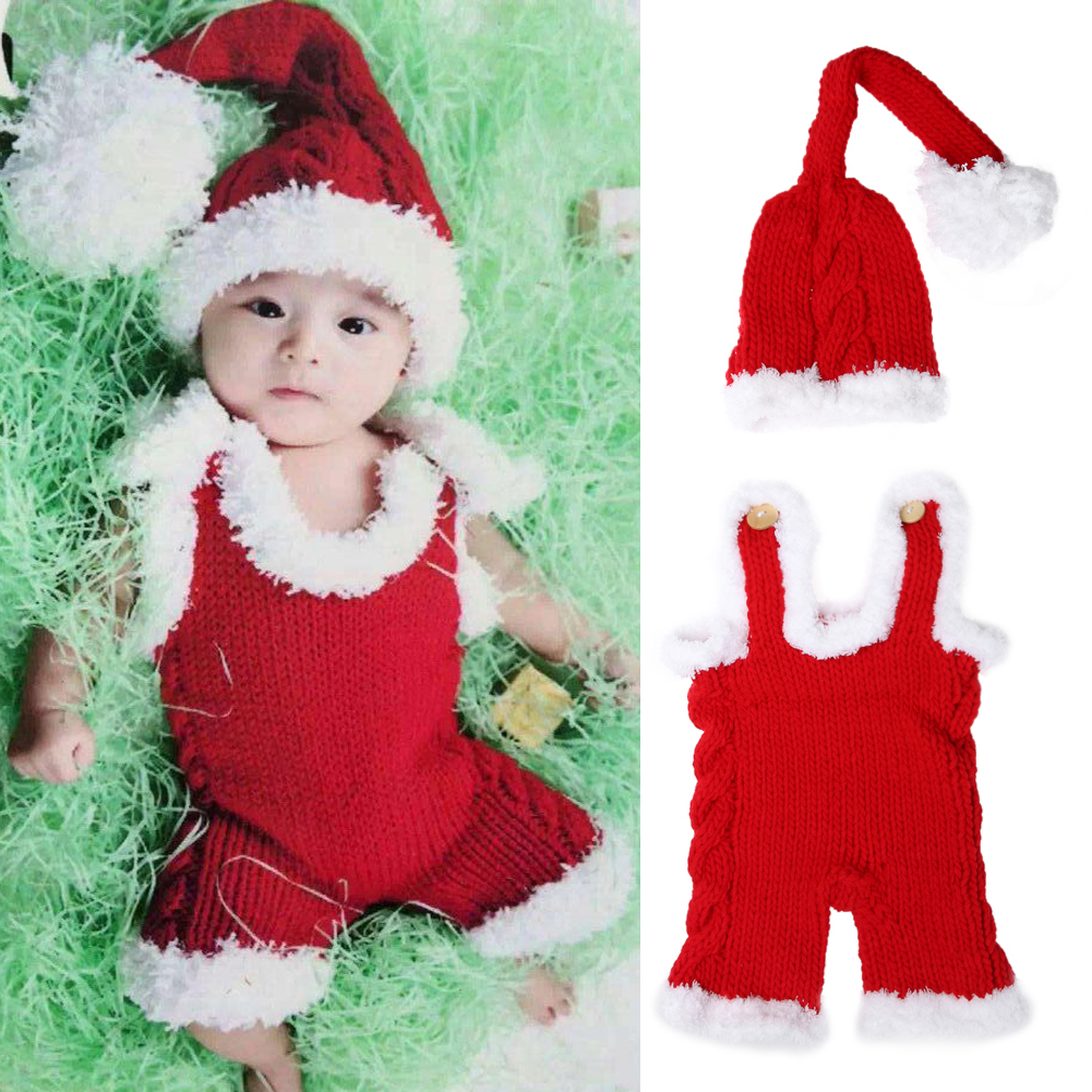Newborn photography props baby christmas xmas crochet knit costume red santa claus hat clothes for new years winter in hats caps from mother kids on
