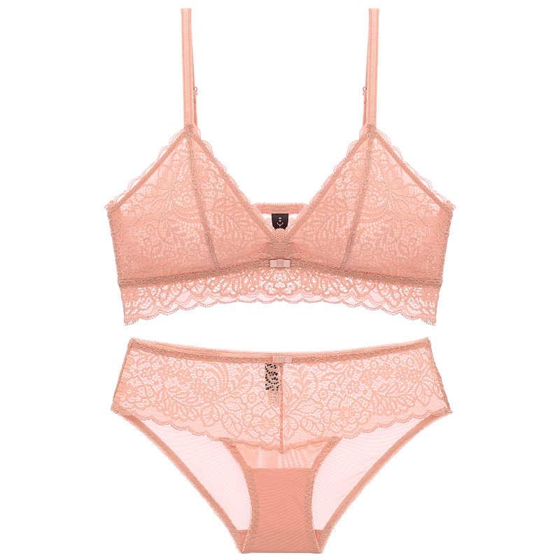 c64888d66494 ... CINOON Ultrathin Lingerie set Lace sexy Bra set Push up Underwear  Embroidery Bralette Underwear for Women ...