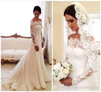 Lace Vestido De Noiva 2018 Muslim Wedding Dresses Mermaid Long Sleeves Vintage Boho Dubai Arabic Wedding Gown Bridal Dresses