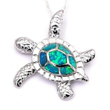 Green Opal Turtle Pendant Necklace