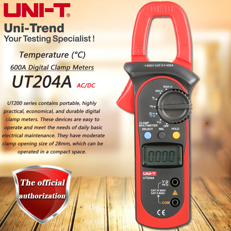 UNI-T UT204A 600A AC DC Digital Clamp Meter Multimeter Resistance / Capacitance / Frequency Test Digital Hold Temperature Test