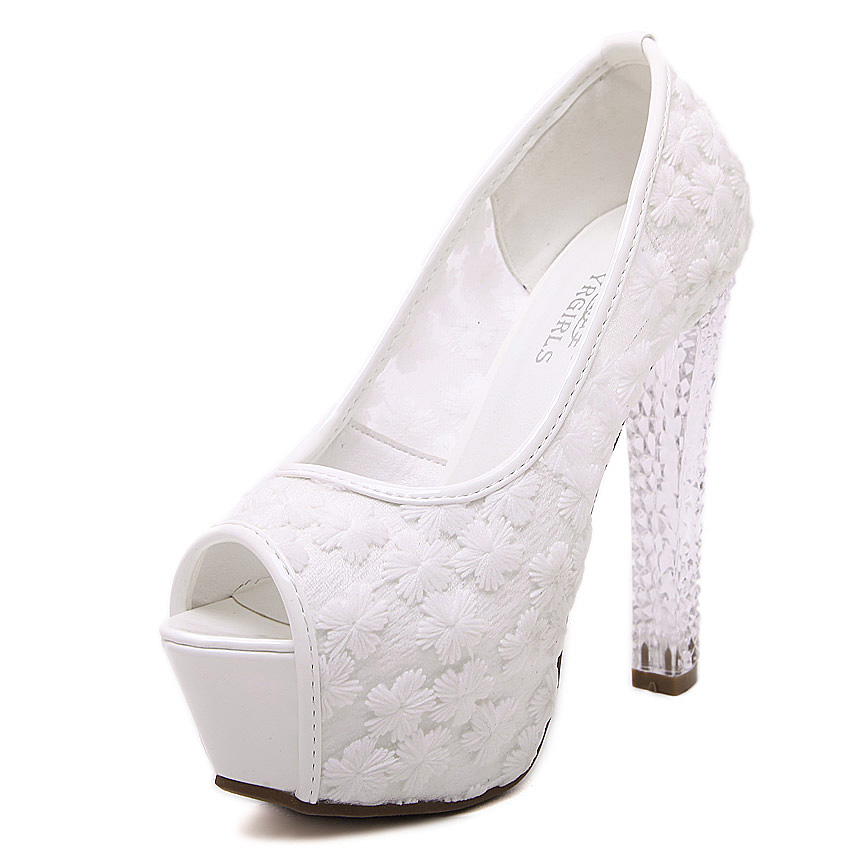 Womens wedding shoes 2016 crystal high heels ladies peep toe platform pumps fashion white lace bridal shoes female zapatos цены онлайн