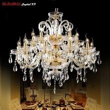 Золотая хрустальная люстра, современное освещение для гостиной, столовой, люстра, хрустальные люстры k9, хрустальные светильники