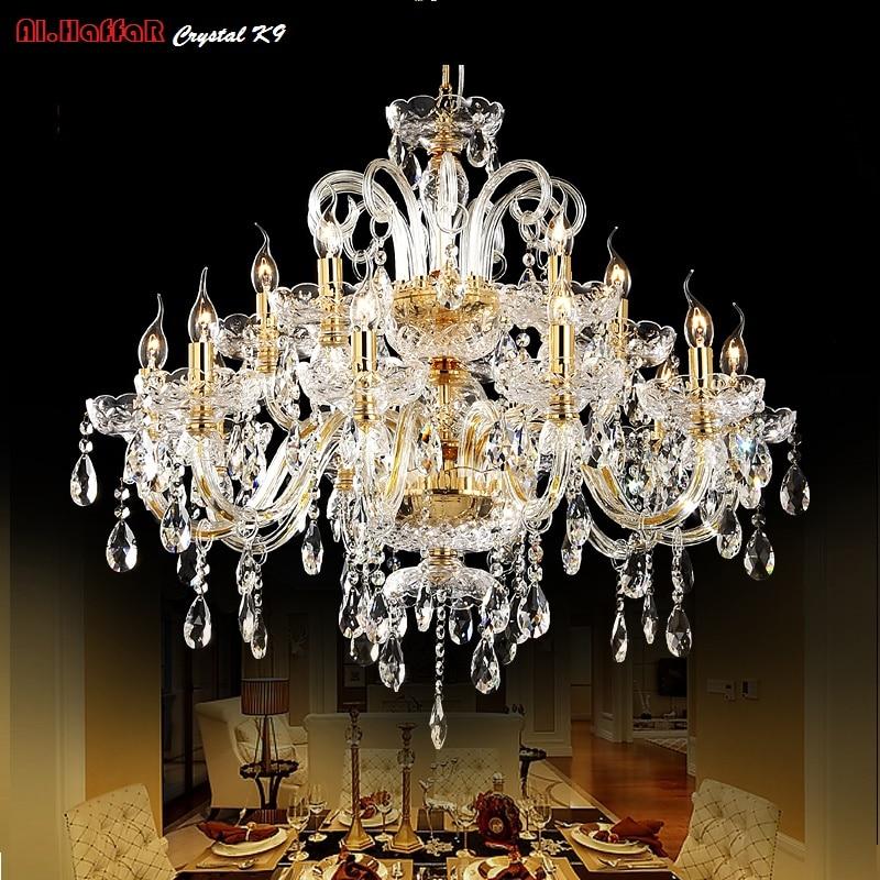 Or lustre en cristal moderne éclairage pour salon salle à manger Lustre lumières Cristal k9 lustres En Cristal Lumières