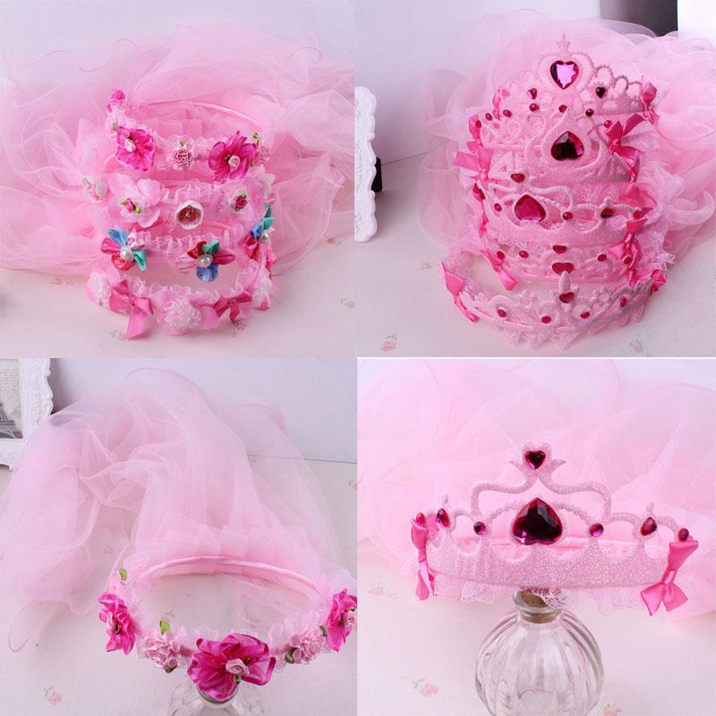 Sweet Children Girl Princess Bridal Lace Veil Crown Headband For Kids Wedding Party Dress Headwear Hair Accessories women girl bohemia bridal camellias hairband combs barrette wedding decoration hair accessories beach headwear