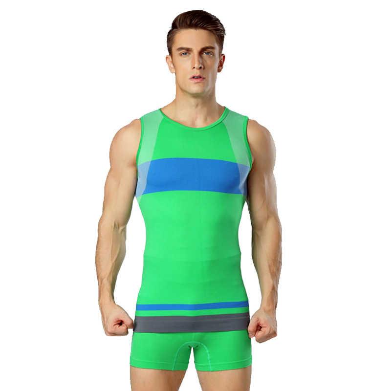 Мужские компрессионные колготы спортивные занятия фитнесом базовый слой Быстросохнущий велосипед Велоспорт обтягивающая одежда Спортивная футболка нижнее белье