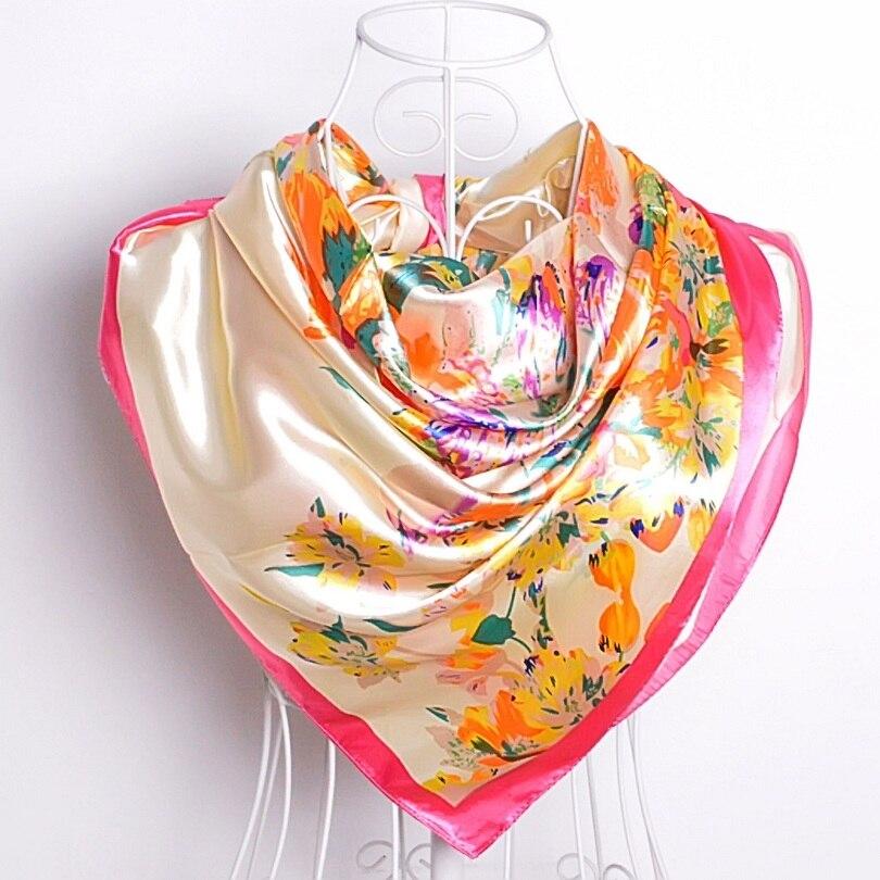 Дизайн женский Шелковый большой квадратный шелковый шарф из полиэстера, 90*90 см горячая Распродажа атласный шарф с принтом для весны, лета, осени, зимы - Цвет: beige pink
