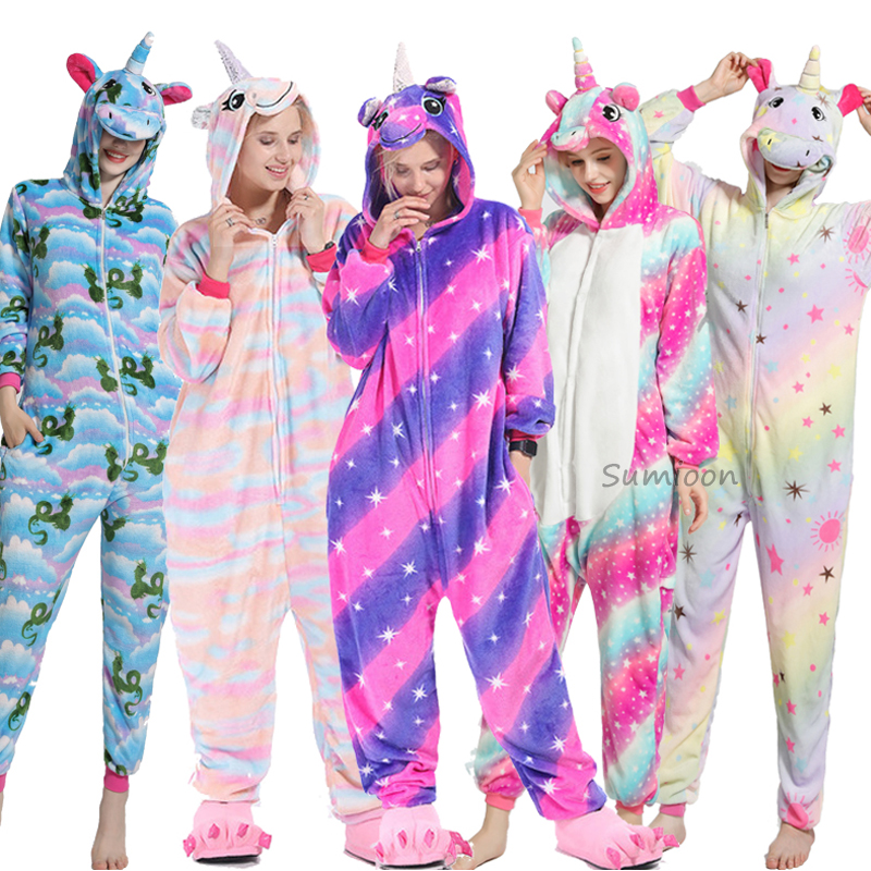 Winter Unisex Unicorn Onesie Kigurumi Pajamas Cartoon Adults Animal Stitch Jumpsuit Girl Pyjama Women Sleepwear Sleepers Blanket(China)