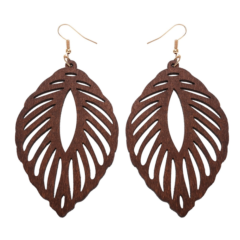 YULUCH Wooden plant leaves hollow out pendant earrings for retro ethnic fashion women jewelry girl earrings gifts