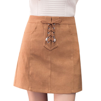 Fashion Women Casual Solid Suede Mini Lace Up Empire High Waist Pencil Skirts Ladies Bottom Short