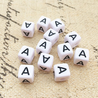 Free Shipping 10 10MM Square Acrylic Letter Beads Single Alphabet A Printing White Cube Jewelry Name