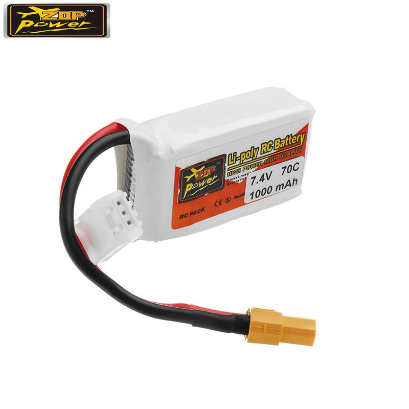 ZOP POWER 7.4V <font><b>1000mAh</b></font> 70C <font><b>2S</b></font> <font><b>Lipo</b></font> Battery Rechargeable With XT60 Plug Connector For RC Models Multicopter Part Accs image