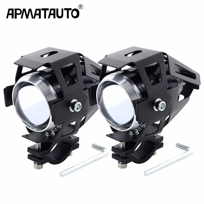 2PCS Motorcycle LED Headlight 12V White 3000LMW U5 Motorbike Driving Spotlights Headlamp Moto Spot Head Light Lamp DRL