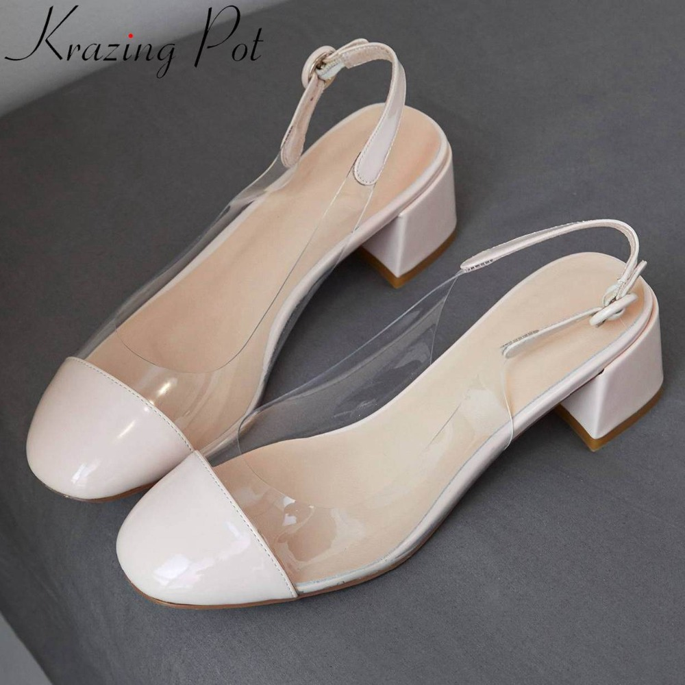 Krazing Pot pretty girls slingback buckle strap square toe jelly shoes chunky heels large size popular pvc casual wear shoes L73