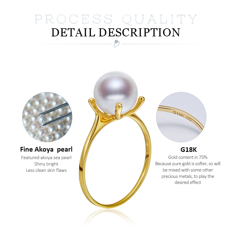 DAIMI 7.5-8mm Akoya Pearl Ring G18K Gold  Simple Ring White Perfect Round Pearl Ring For Woman