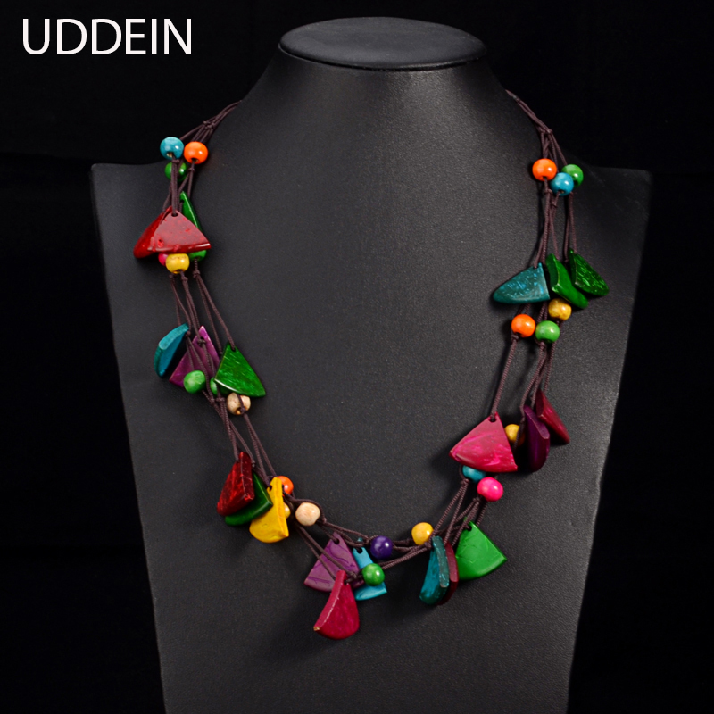 UDDEIN New design bohemian necklace vintage statement bib collares handmade multi layer wood jewelry online shopping india maxi