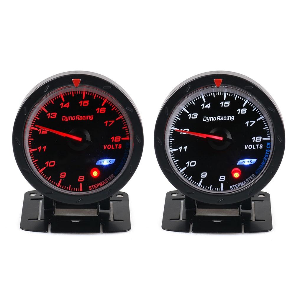 Dynoracing 60 мм Автомобильный вольтметр 8-18 в датчик напряжения красный и белый индикатор напряжения автомобиля для 12 В автомобиля BX101472