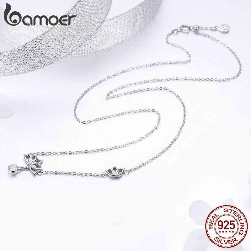 BAMOER élégant 925 en argent Sterling Lotus fleur boucles d'oreilles et colliers pendentif bijoux ensembles pour femmes argent bijoux cadeau ZHS067