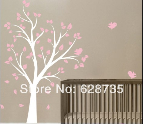 large size 180cmx130cm vinyl tree and birds wall sticker beautiful