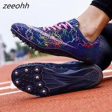 Zeeohh/Лидер продаж; спортивная обувь для мужчин и женщин; дышащая обувь для бега с шипами; Цвет зеленый, оранжевый; спортивная обувь; кроссовки с шипами для мужчин