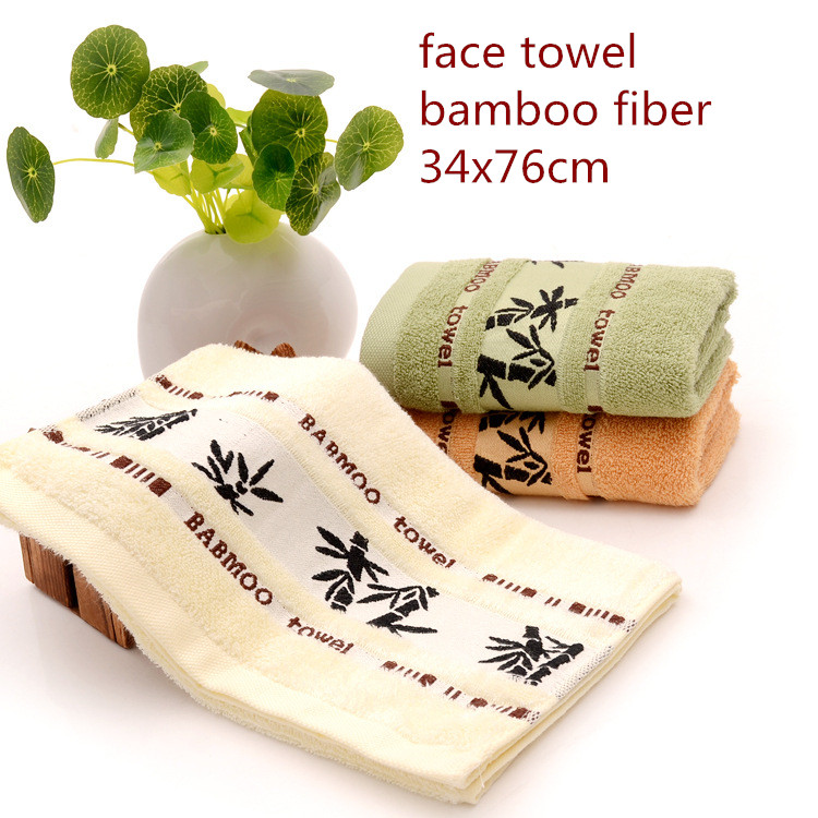 Fashional border 34x75cm Green and healthy Anti-bacterial care skin high water absorpotion 100% bamboo fiber fabric face towel