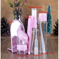 8Pcs/bag Plastic Empty Cosmetic Container Spray Bottles Travel Set Refillable Water Spray Bottle Container Comb Makeup Mirror
