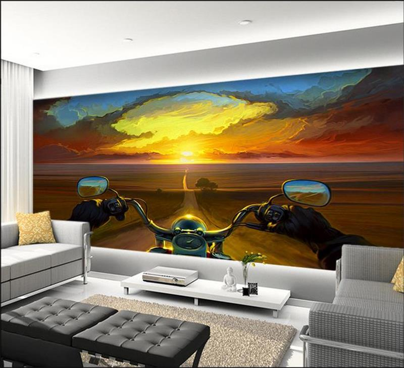 3d wallpaper custom room murals non-woven sticker Motorcycle rider photo sofa TV background wall photo wallpaper for walls 3d 3d wallpaper custom mural non woven wall sticker 3d flowers and blue sky and white cloud ceiling murals wallpaper for walls 3d